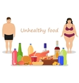 Cartoon female male obesity Unhealthy food