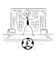 cartoon of businessman as soccer football goal vector image vector image