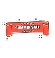 cartoon summer sale ribbon icon in comic style vector image vector image