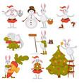 christmas bunny rabbit santa cartoon character vector image