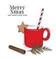 christmas cup hot chocolate or coffee drink with vector image