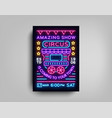 circus poster design template in neon style vector image vector image