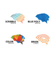 collection of abstract brain logo template vector image vector image