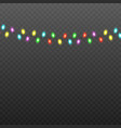 colorful christmas lights string isolated on black vector image vector image