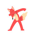 cute red fox standing in dub dancing pose cartoon vector image vector image