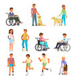 disabled people flat isolated icon set vector image