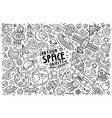 doodle cartoon set of space theme objects and vector image
