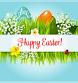 easter egg in grass with flowers cartoon poster vector image vector image