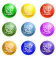 email virus worm icons set vector image