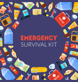 emergency survival kit banner template with travel vector image vector image