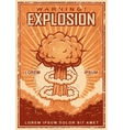 Explosion warning vintage poster vector image vector image