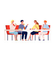 friends eating happy people meeting and have vector image vector image