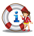 Girl Information Kiosk Sign vector image vector image