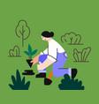 girl plants plant in ground in garden vector image