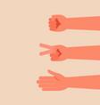hand make rock scissors paper vector image