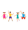 happy cartoon cheerful young girls and boys vector image vector image