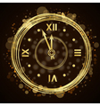 Happy New Year background gold clock vector image vector image