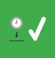 icon concept of clock into hole with check mark vector image