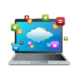 laptop With blue screen Cloud-computing connectio vector image vector image
