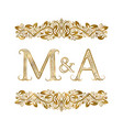 m and a vintage initials logo symbol letters vector image vector image