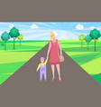 mother and kid walking woman in city park vector image vector image