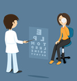 Ophthalmologist checks sight at the woman vector image vector image