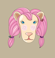 pink lion cartoon vector image