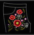 poppy embroidery stitches for jeans vector image vector image