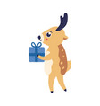reindeer with present box vector image vector image
