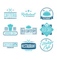 restaurant logos badges and labels design vector image vector image