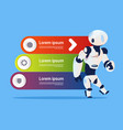 robot over template infographics background modern vector image