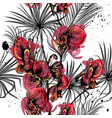 seamless pattern on a tropical theme palm orchids vector image