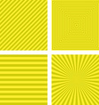 Simple yellow striped pattern background set vector image vector image