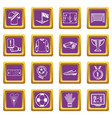 soccer football icons set purple square vector image vector image