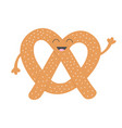 soft pretzel icon sweet salted bakery pastry cute vector image