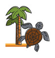 tall hawaiian palms on sand and huge sea turtle vector image