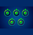 timer icons with color gradation and numbers vector image vector image