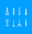 tower icon blue set vector image