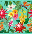 tropical flowers seamless pattern summer floral