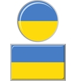 Ukrainian round and square icon flag vector image