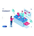 woman ordering pills at drugstore online pharmacy vector image vector image