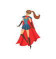 young superhero woman character in blue costume vector image vector image