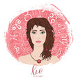 zodiac signs leo in image of beauty girl vector image vector image