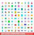 100 cloud computing icons set cartoon style vector image vector image