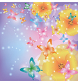 abstract background with flowers poppies vector image
