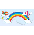 Airplane and balloon over the rainbow vector image