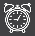 alarm clock line icon time and deadline vector image vector image