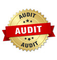 audit 3d gold badge with red ribbon vector image vector image