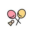 badminton racket sports spring flat color icon vector image vector image