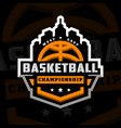 basketball championship sports logo emblem on a vector image
